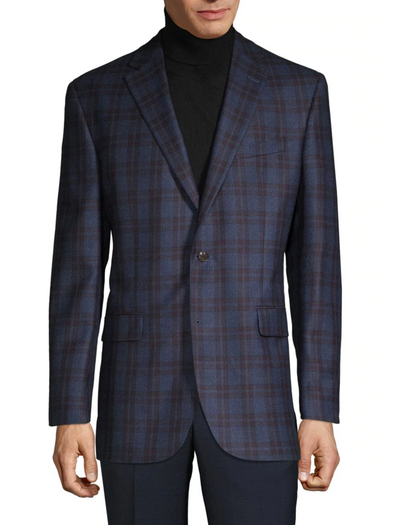 Navy Check Contemporary Fit Loro Piana Sport Coat