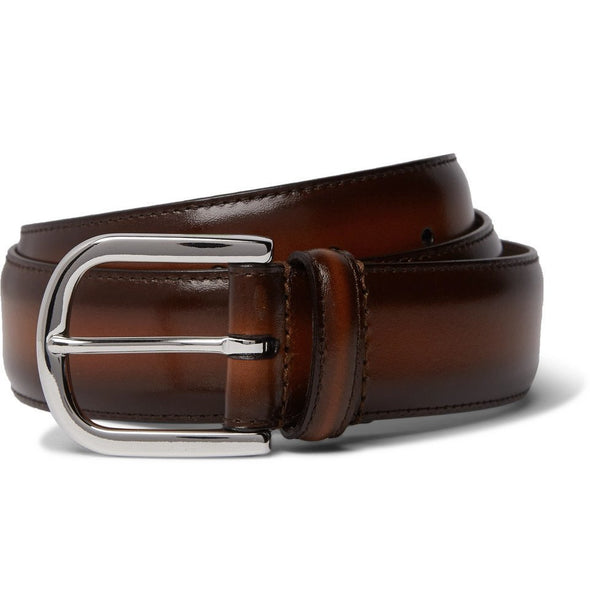 Brown Burnished Leather Belt - Anderson's