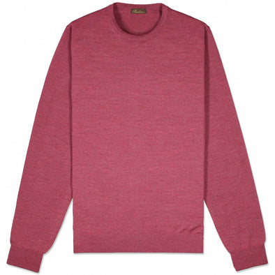 Raspberry Merino Crew Sweater With Patch