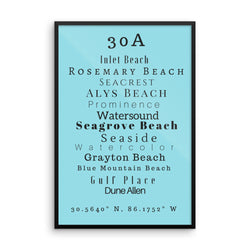 Framed 30A Beaches Sea Salt Print