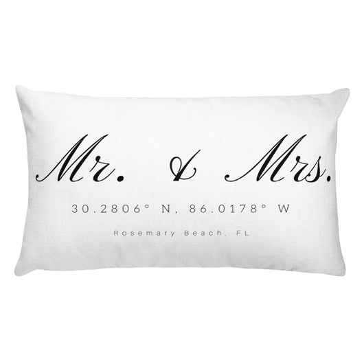 Rectangular Mr & Mrs Rosemary Beach, FL Pillow