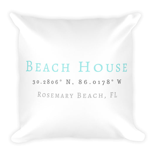 Square Seaside Beach House Pillow