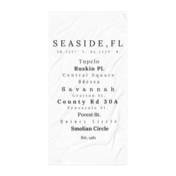 Seaside, FL Coordinates & Streets Beach Towel