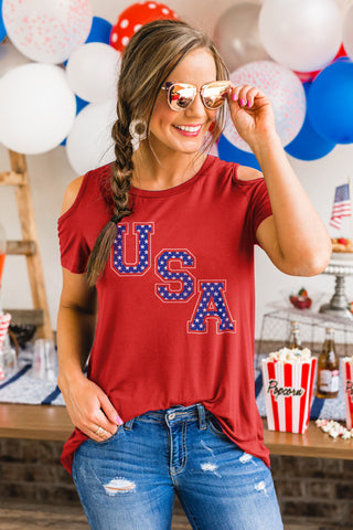 "Wait and See ""USA"" Open Shoulder Top PREPACK"