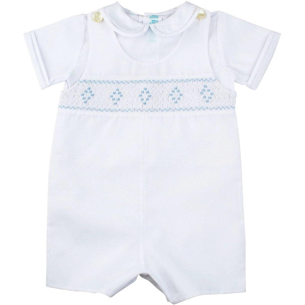 SMOCKED SUIT WHITE/BLUE