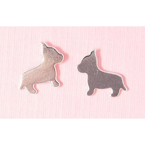 MINI DOG POST EARRINGS-SILVER