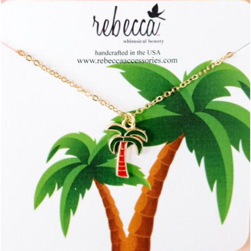 PALM TREE ENAMEL NECKLACE