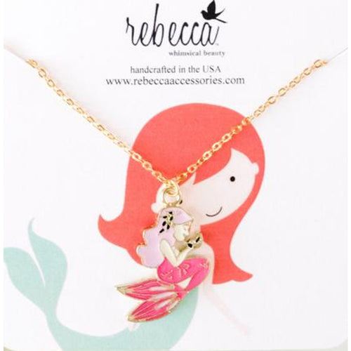 PINK MERMAID ENAMEL NECKLACE