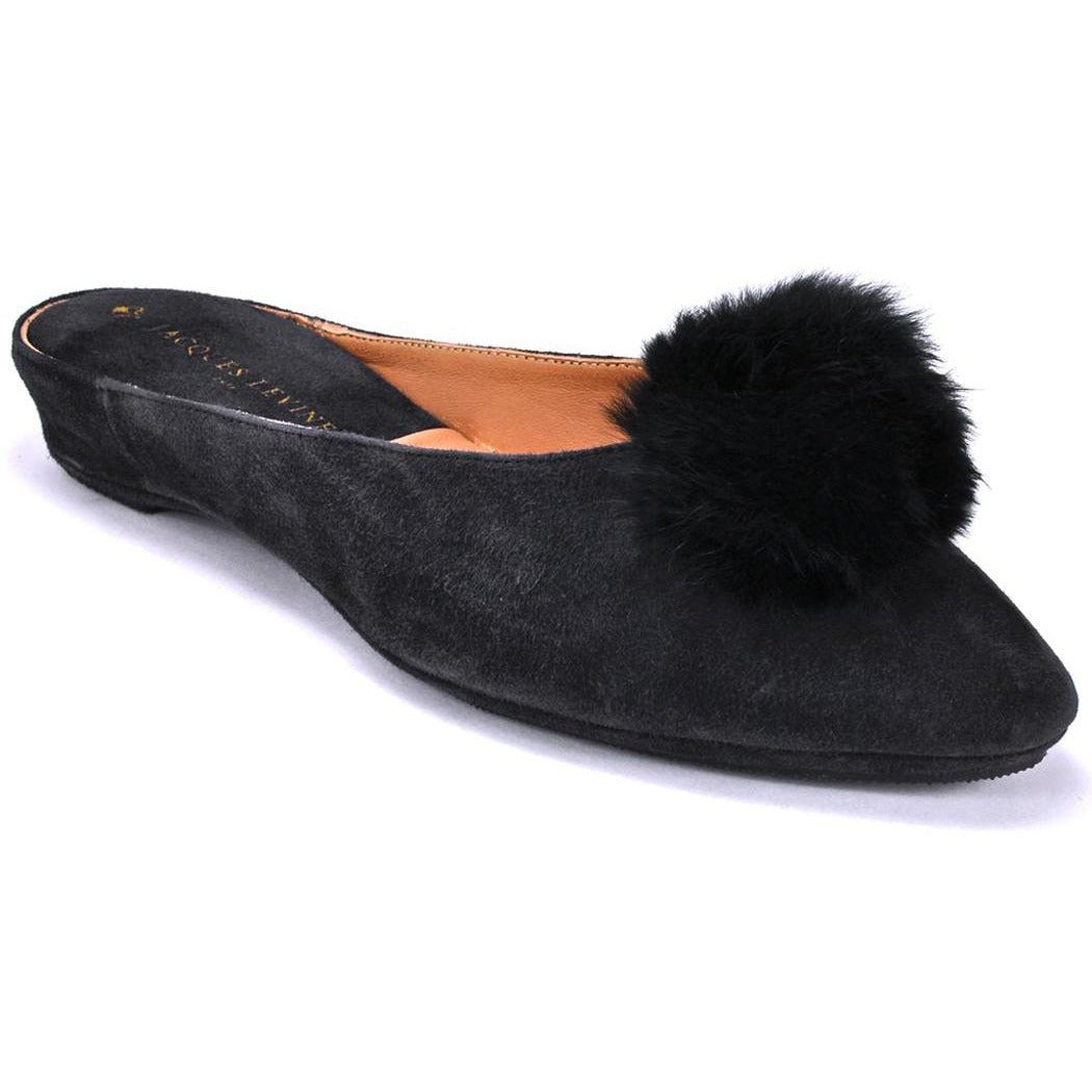 BLACK SUEDE POM POM SLIPPERS