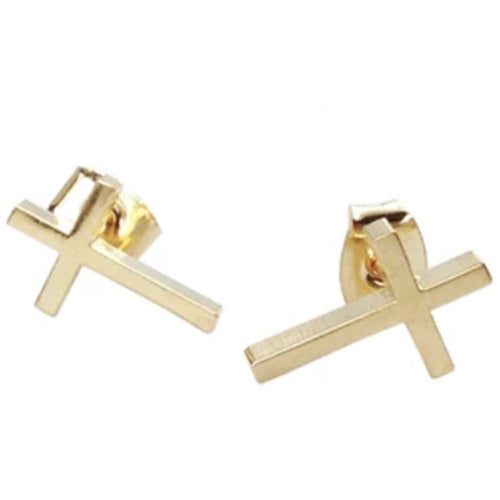 CROSS EARRING POST GOLD