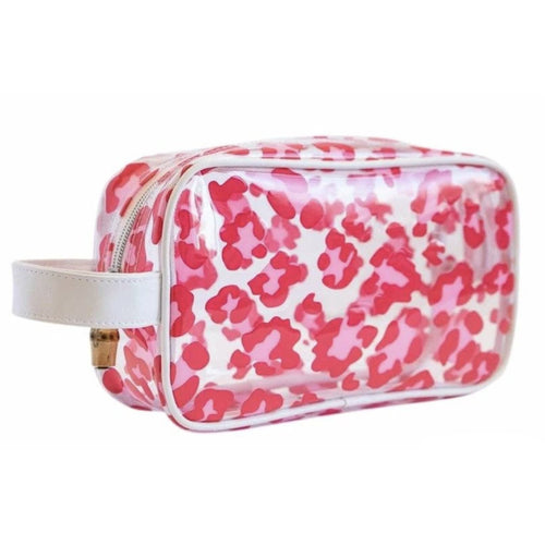 GLAM CLEAR BAG PINK LEOPARD