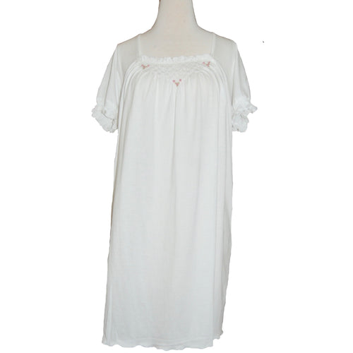 CELESTE 2 HEIRLOOM SHORT SLEEVE WHITE GOWN WITH PINK FLOWERS