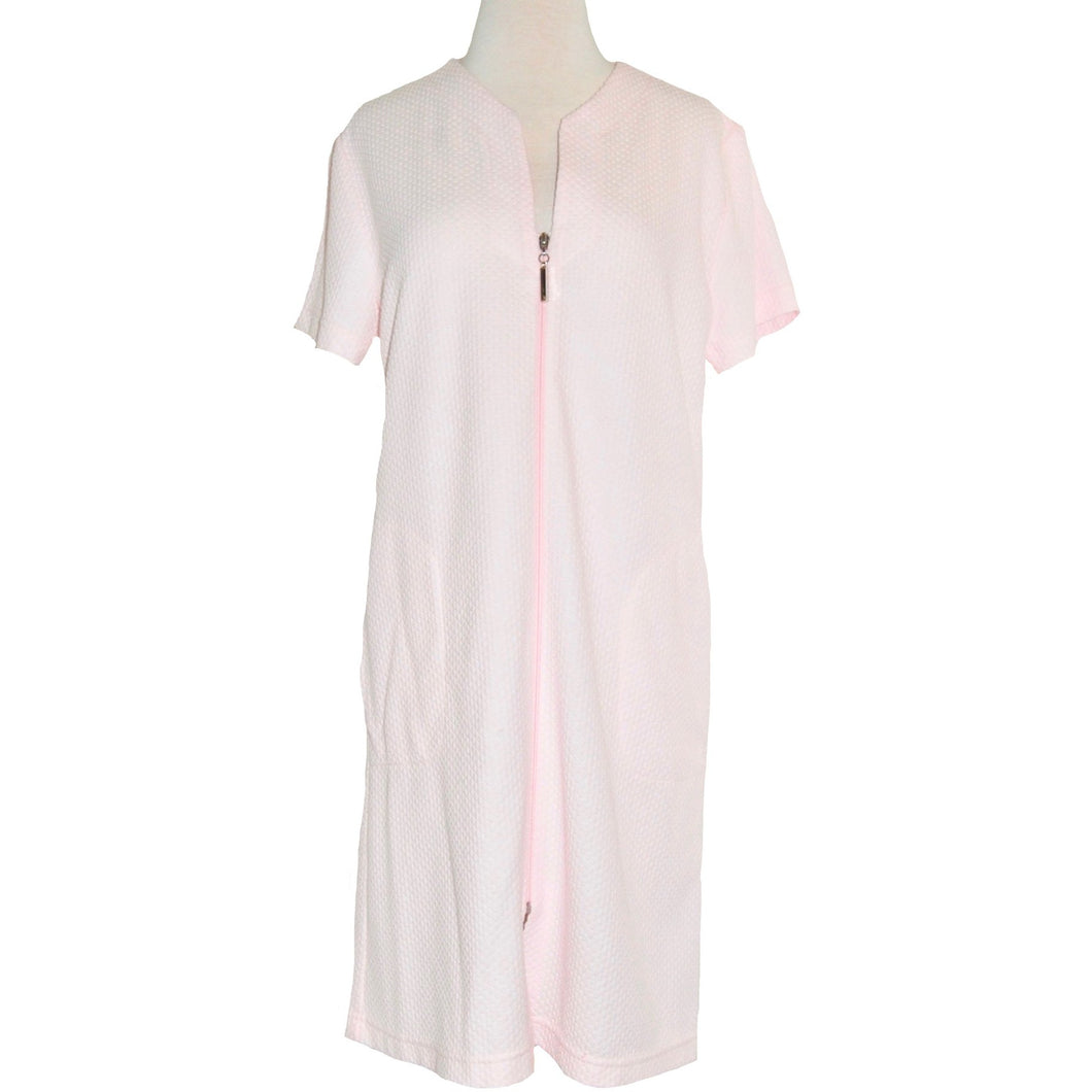 COTTON/POLY ZIP ROBE SHORT SLEEVE