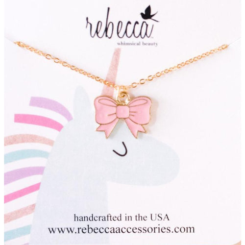 PINK BOW ENAMEL NECKLACE