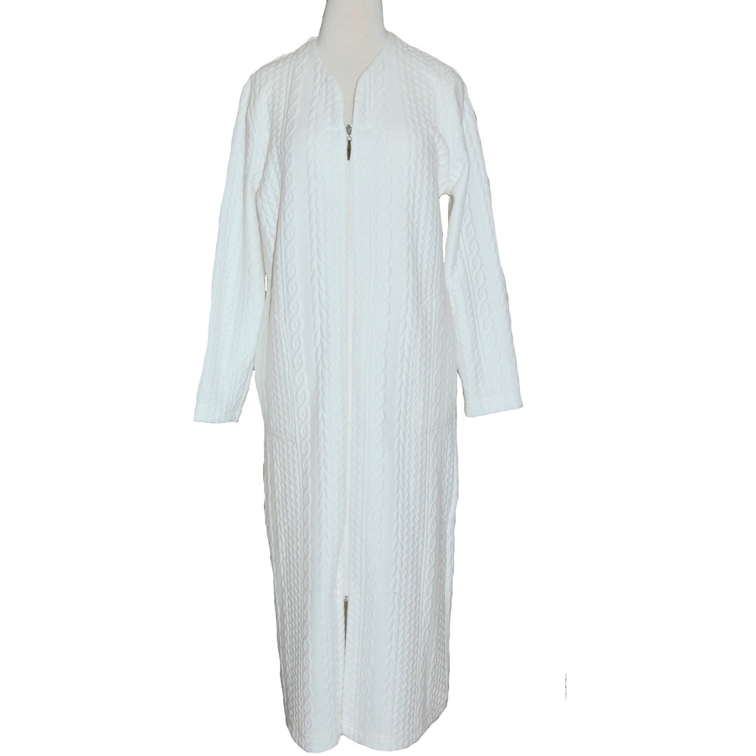 CABLE ZIP ROBE ECRU