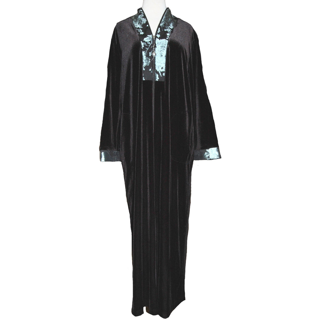 ZIP FRONT ROBE BROCADE TRIM