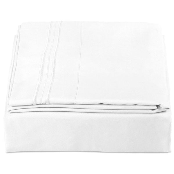 King Size 4-Piece Fitted Sheet - White