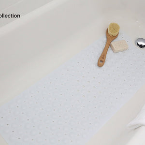 "Extra Long Vinyl Bath Mat - Latex Allergen Free & Anti Bacterial & Anti-Slip (39""L x 16""W, White)"