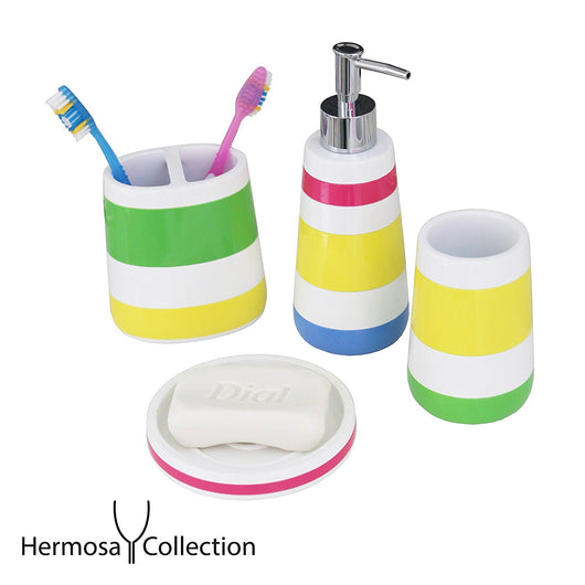 Hermosa Collection Four Piece Kids Bathroom Accessories Set