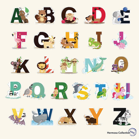 Fun Educational Alphabet with Animals for Baby Nursery and Kids Rooms