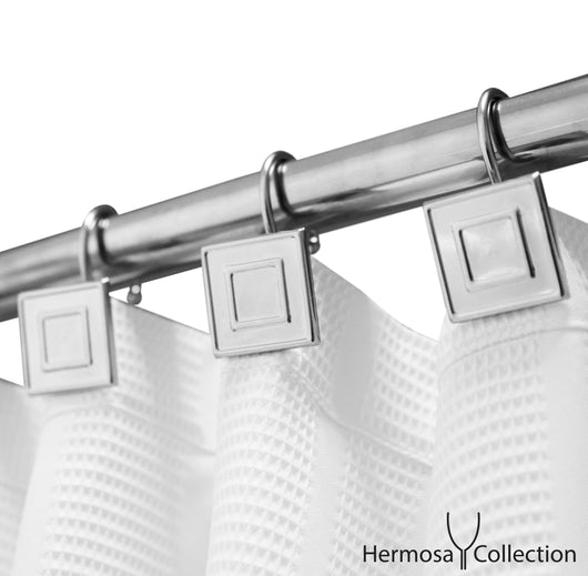 Luxury Hotel Shower Curtain Hooks Square Contemporary Design Silver Chrome (12-pk.)