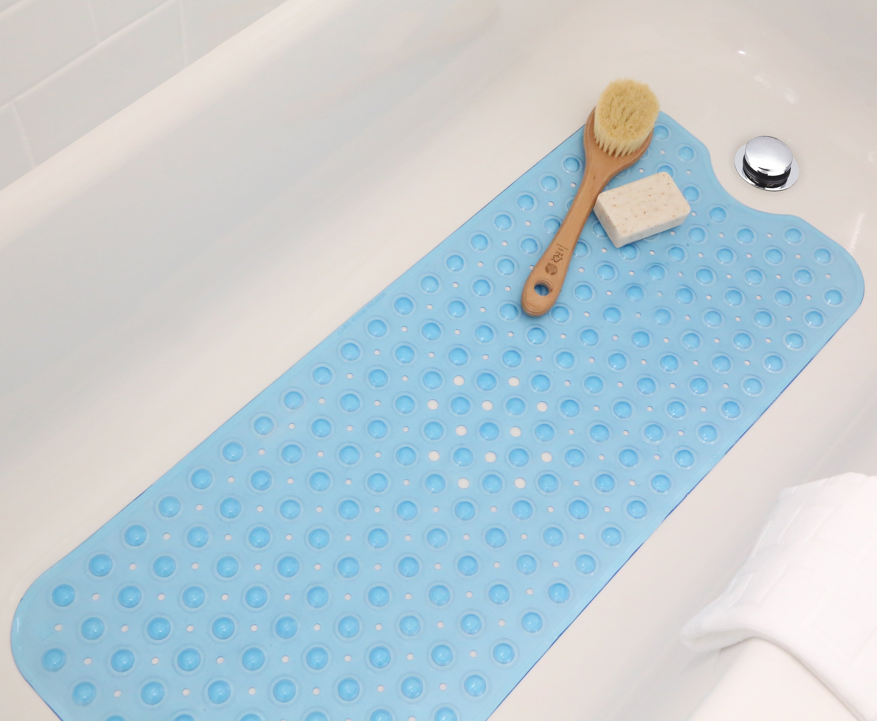 "Extra Long Blue Vinyl Bath Mat - Latex Allergen Free & Anti Bacterial & Anti-Slip (39""L x 16"