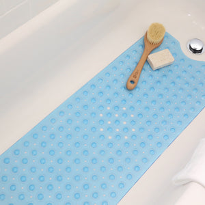 "Extra Long Blue Vinyl Bath Mat - Latex Allergen Free & Anti Bacterial & Anti-Slip (39""L x 16""W)"