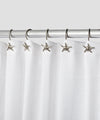 Hermosa Collection Decorative Star Shaped Silver Chrome Shower Curtain Hooks