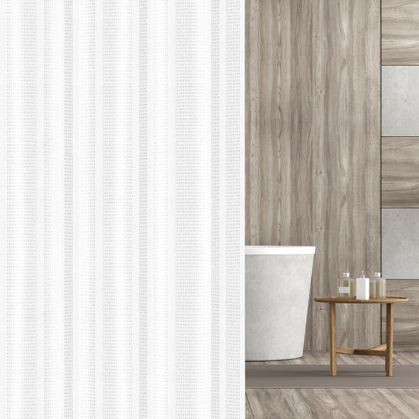 Hermosa Collection Heavy Fabric 230 GSM Waffle Shower Curtain 72-Inch-by-72, White