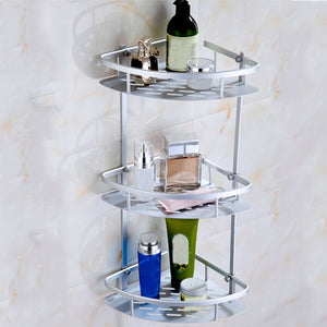 3 Layers Space Aluminum Bathroom Shelf Corner Basket Shower Shampoo Soap Cosmetic Storage Shelves Bathroom Organizer Rack Holder