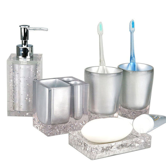5 Pcs Resin Bathroom Accessories Set Soap Dish Toothbrush Holder