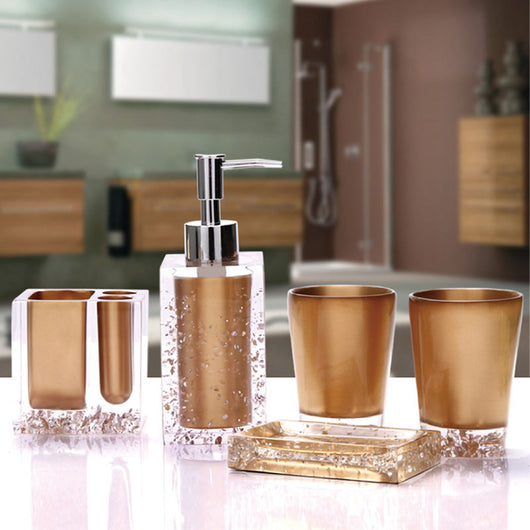 5-Piece Resin Bathroom Accessory Set with Soap Dish Brown Dispenser Toothbrush Holder and Tumbler