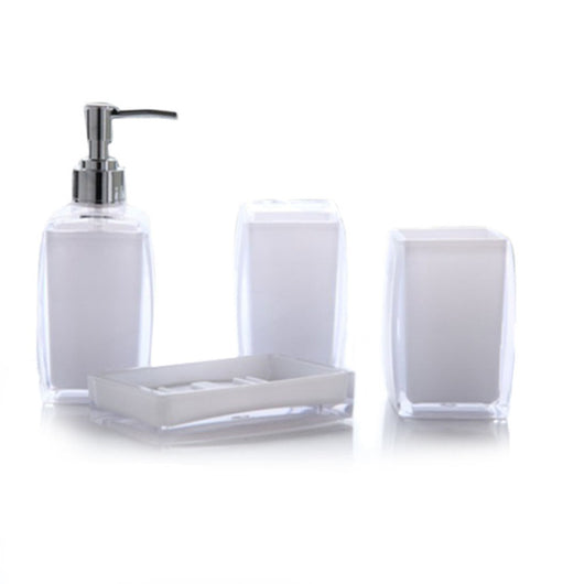 4 Piece Acrylic Bathroom Accessories Set   Soap Dispenser Bottle Soap Dish  Cup Toothbrush Holder Case