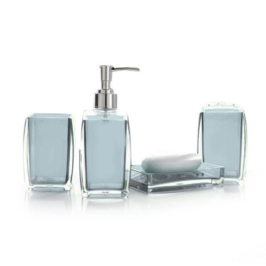 4 Piece Acrylic Bathroom Accessories Set - Soap Dispenser Bottle Soap Dish Cup Toothbrush Holder Case
