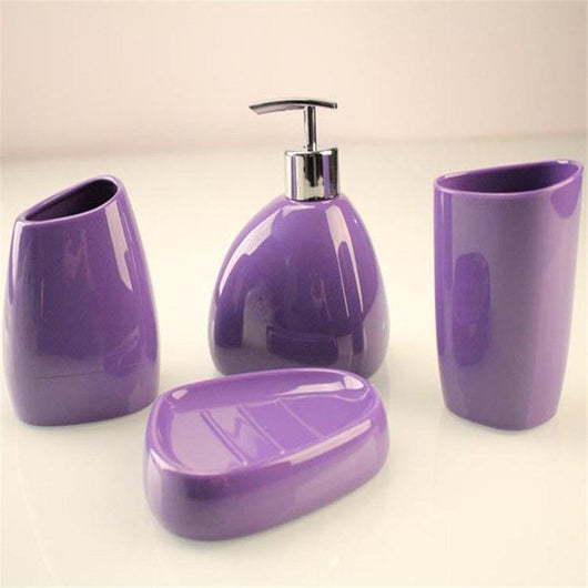 4 Piece Accessories Set Soap Dispenser Pump Toothbrush Holder