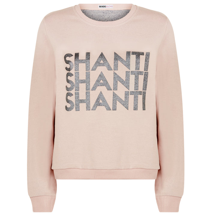 BLACK GLITTER ON BLUSH SHANTI SWEATSHIRT