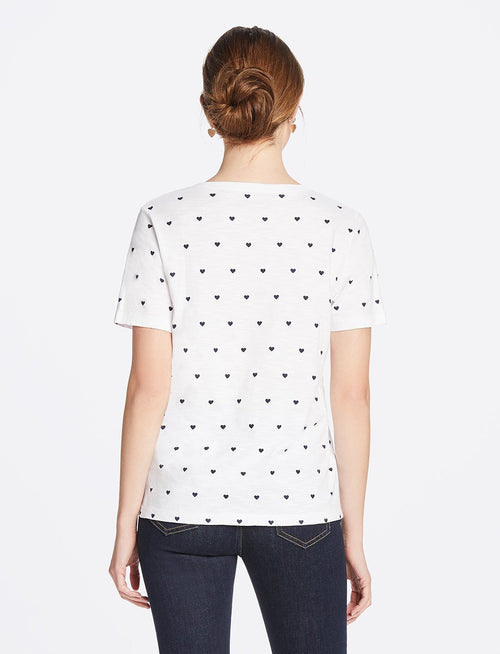 Heart Dots V-Neck Slub Tee