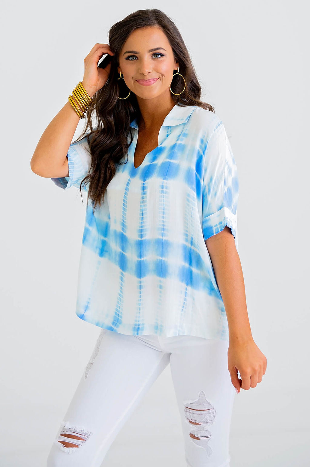 Tie Dye V-Neck Collar Shirt