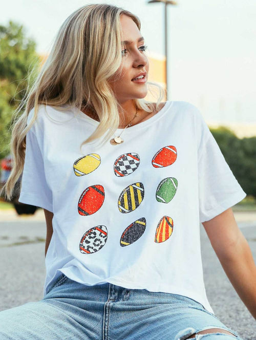 Retro Football Crop Tee