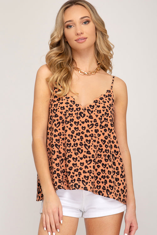 Lovely Leopard Scalloped Camisole