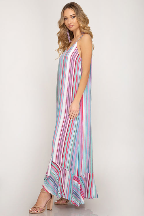 Striped Ruffle Hem Maxi