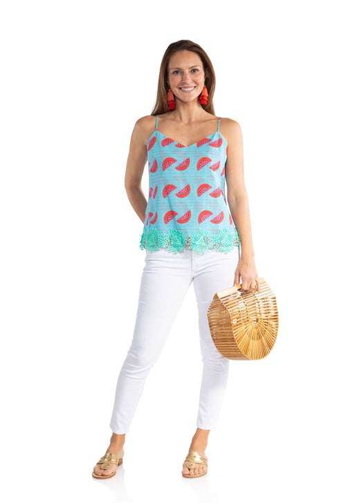 Crinkle Cotton Watermelon Tank