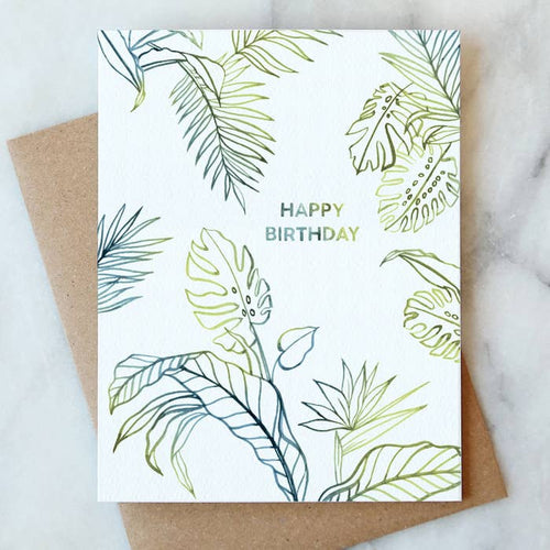 Tropical Leaves Birthday Card