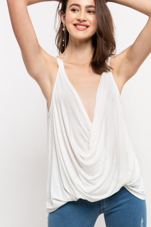 Plunging Twist Tank Top