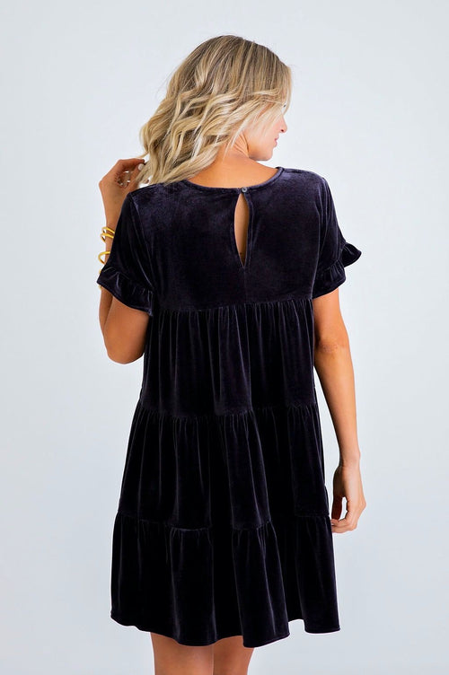 Velvet Tiered Mini Dress