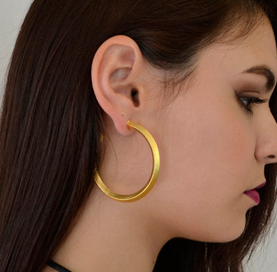 "Lyon 2"" Pyramid Gold Hoops"
