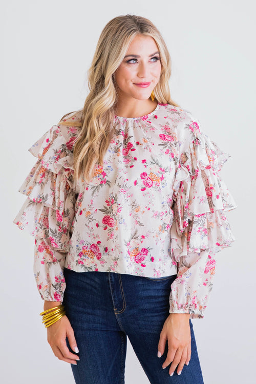 Delia Ruffle Sleeve Floral Top