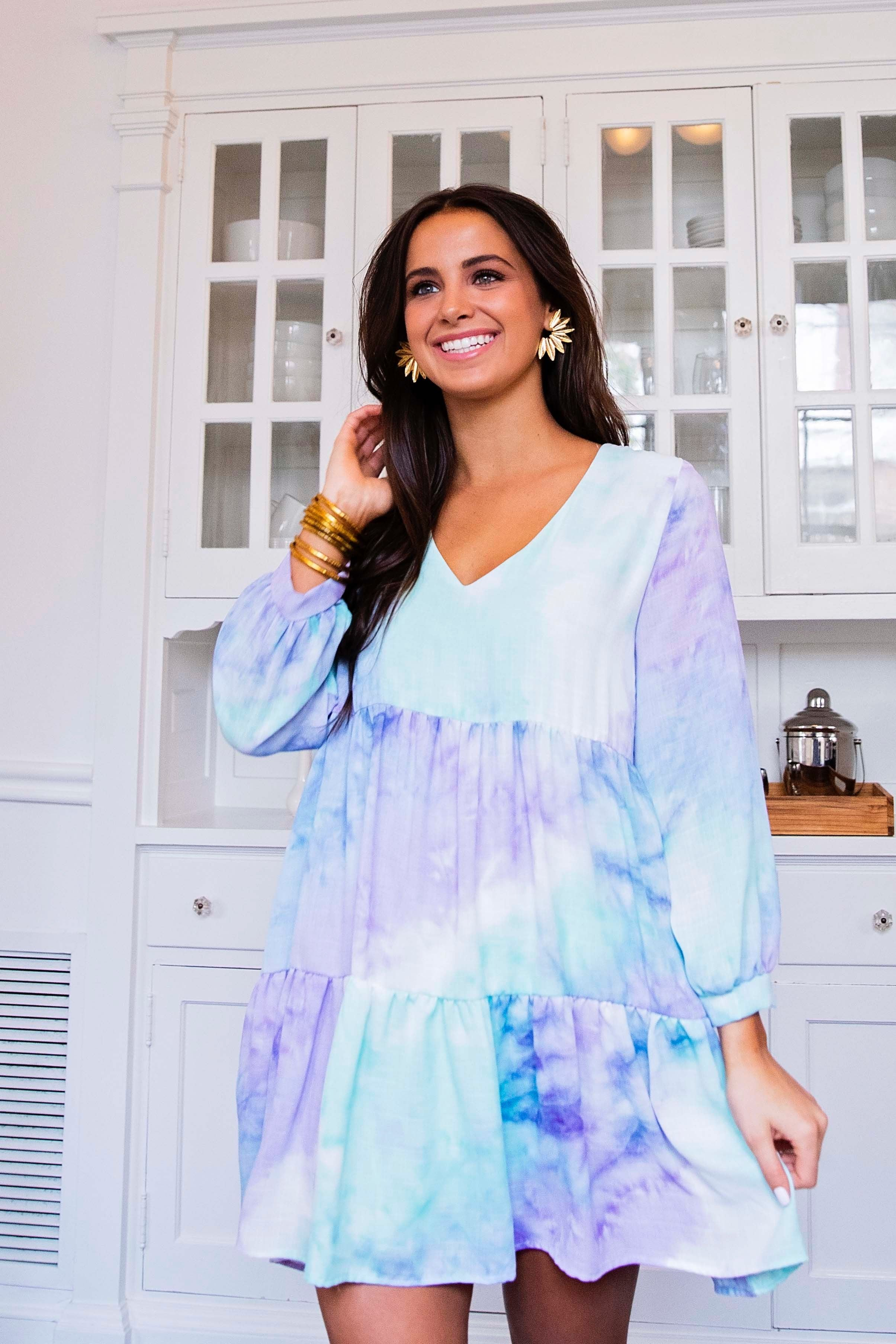 Tie Dye V-Neck Flounce Dress