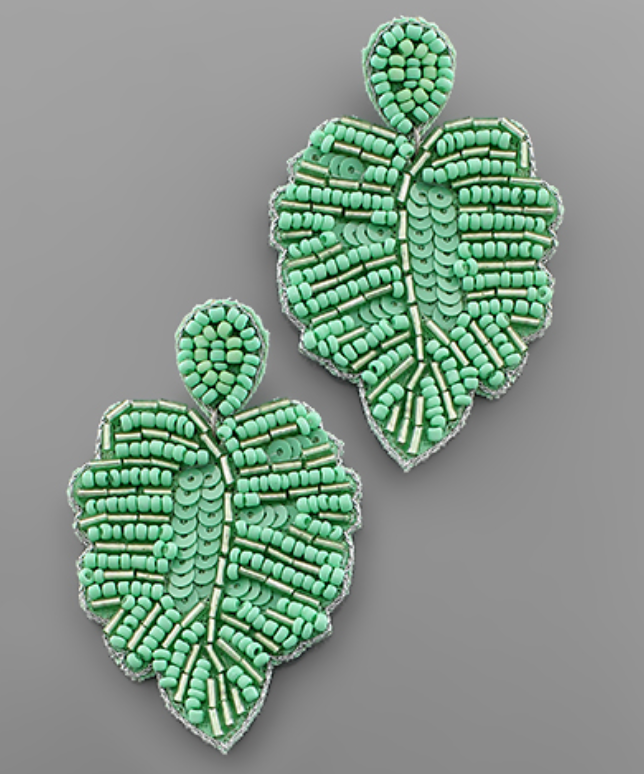 Beaded Palm Frond Earrings