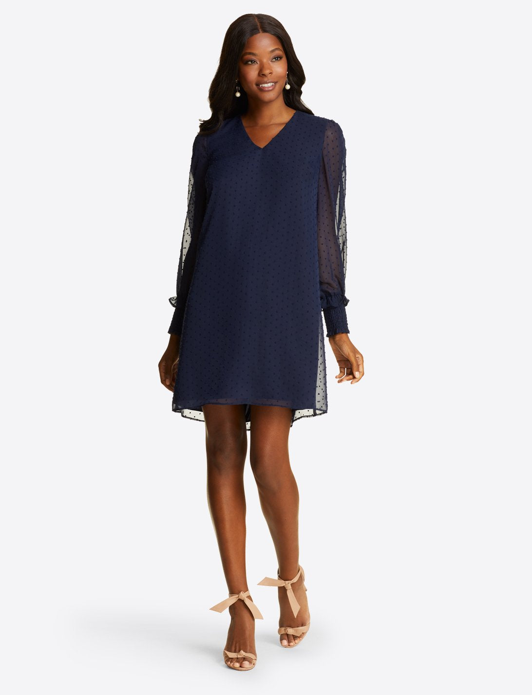 Long Sleeve Smocked Cuff Shift Dress